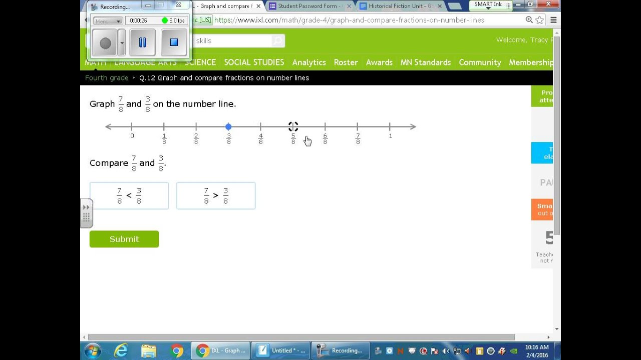 Comparing Fractions on a number line Greater Than and Less than Symbols -  YouTube
