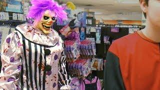 Hugz the Clown Attacks at Spirit Halloween - Scary Clown Vlog - WeeeClown Around