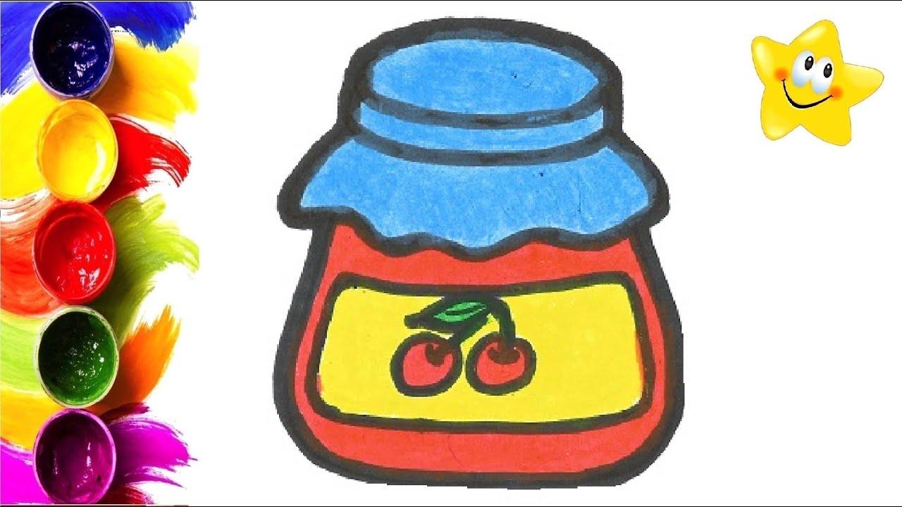 Раскраска для детей БАНКА С ВИШНЕВЫМ ВАРЕНЬЕМ. Мультик ...
