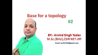 Base for a topology, Lecture-2, Examples, topological spaces