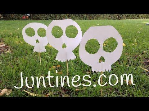Adornos para Halloween: Calavera de papel para el jardín