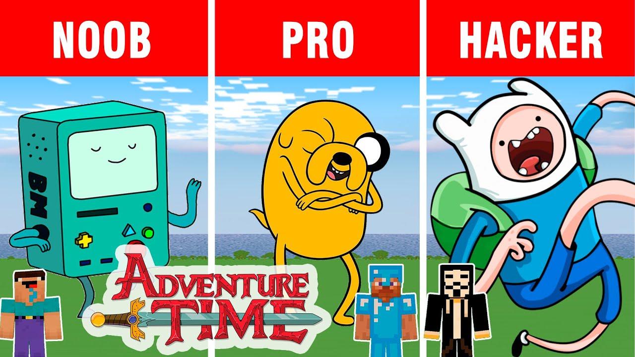 Minecraft battle: NOOB vs PRO vs HACKER: BUILDING CHALLENGE ADVENTURE TIME in Minecraft