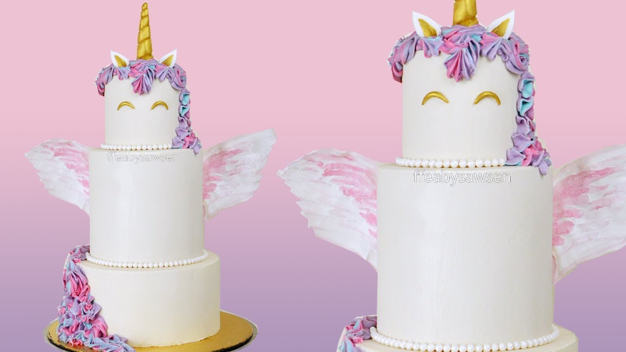 Tiered Unicorn Cake With Wafer Wings Buttercream Cake Decorating