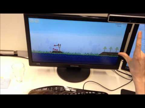 SoftKinetic tech demo: Angry Birds controlled with fingers