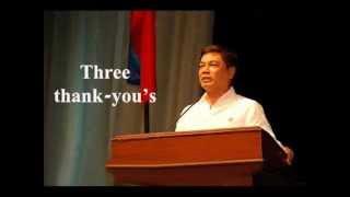 Three thank -you's by Pastor Ed Lapiz