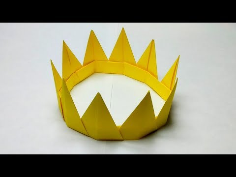 How to make a paper crown for a princess easy without tape or glue or scissors only 10 square paper