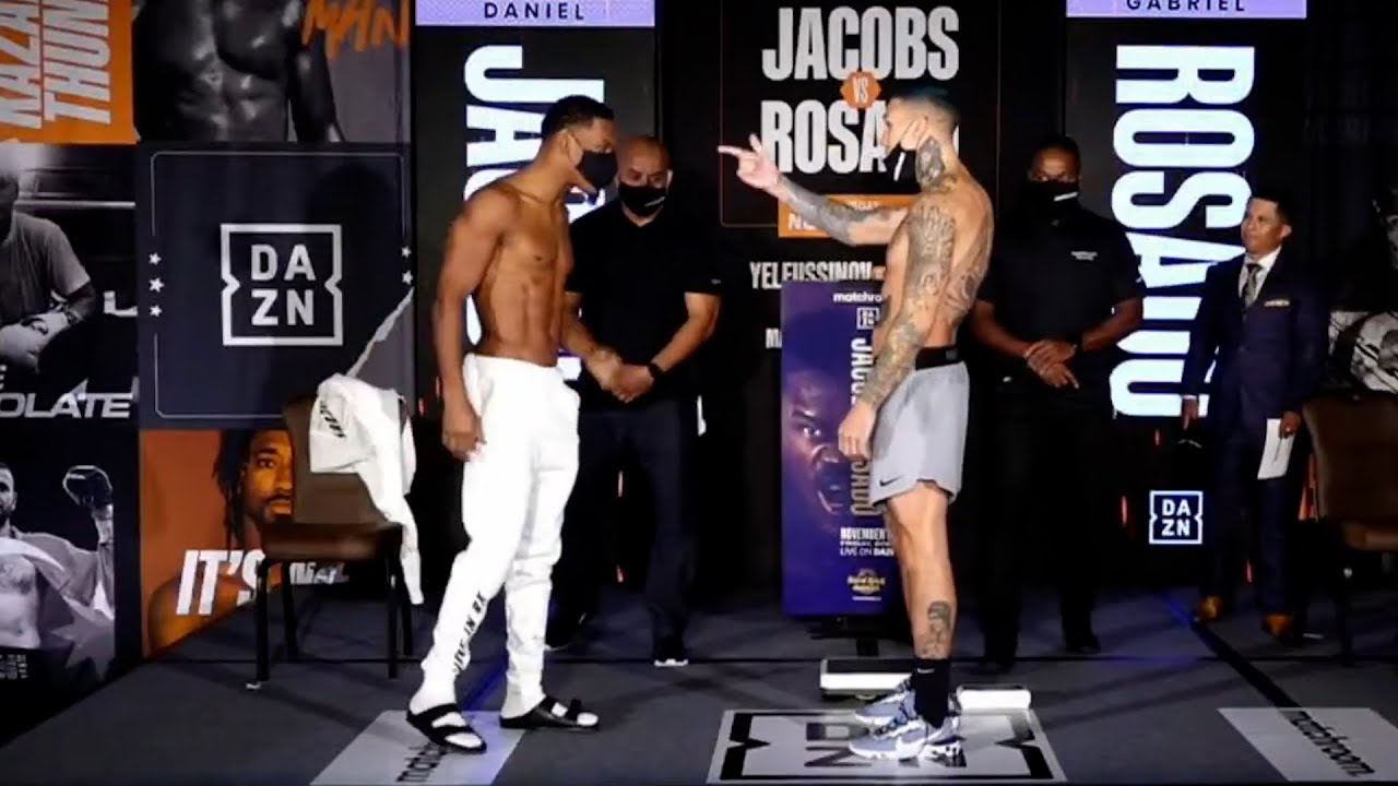 DANIEL JACOBS & GABE ROSADO GET HEATED AT WEIGH IN! TRADE WORDS | FULL WEIGH IN VIDEO