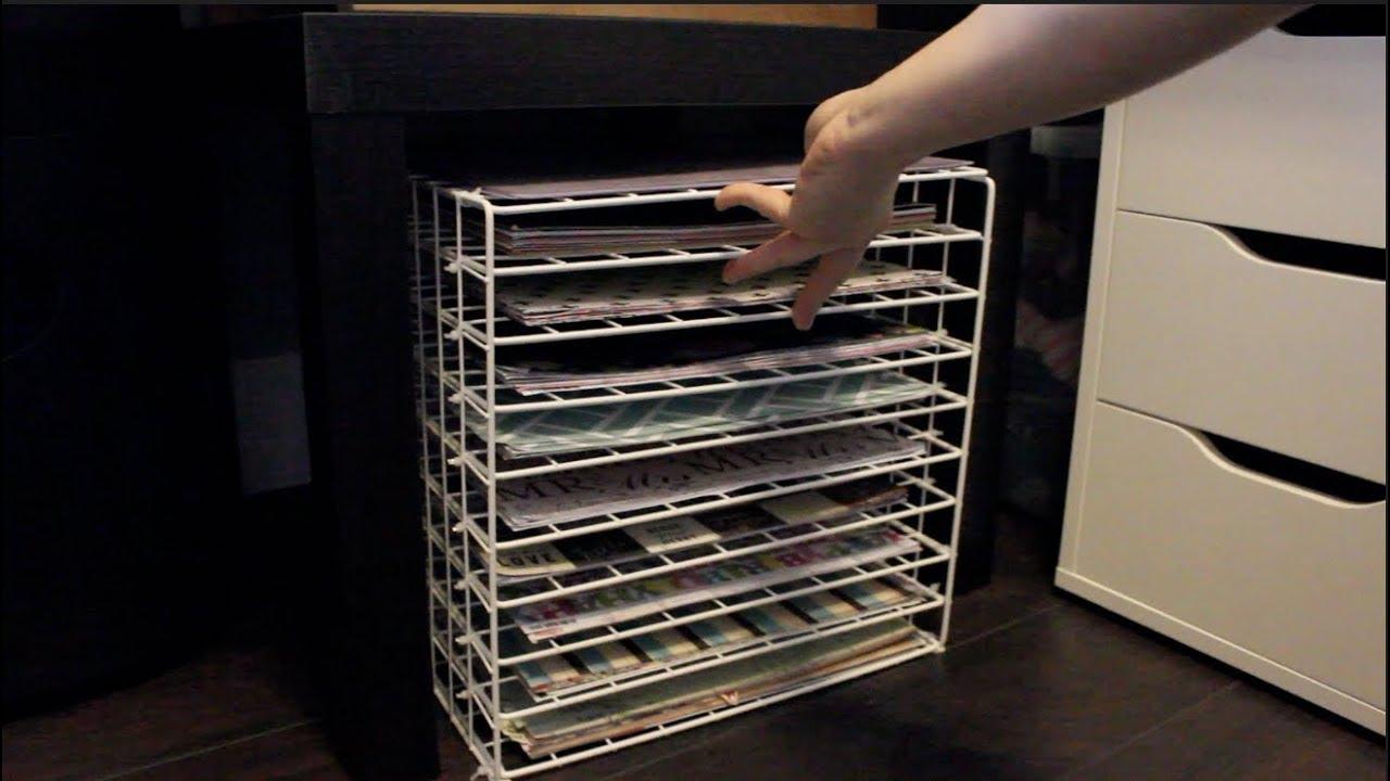 tutorial diy 12x12 scrapbook paper storage cricut cutting mat storage using wire racks