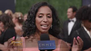 "Nominee Chloe Arnold (""The Late Late Show with James Corden"") on the 2018 Primetime Emmys Red Carpet"