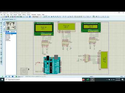 How to Connect Multiple LCD to Arduino in Proteus   Demonstration with I2C