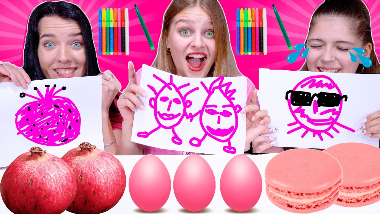 ASMR Draw and Eat Only Pink Food Challenge Mukbang by LiLiBu #3