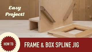 This spline jig is a real simple and easy to make jig that rides along your table saw fence and allows you to cut splines in picture
