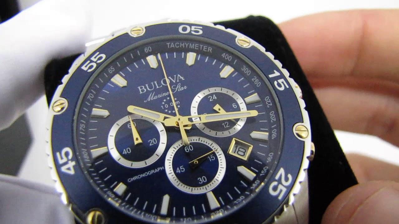 e65e2f449f1 Relógio Bulova Marine Star WB30686A Masculino Esportivo Azul e Dourado  Quartz