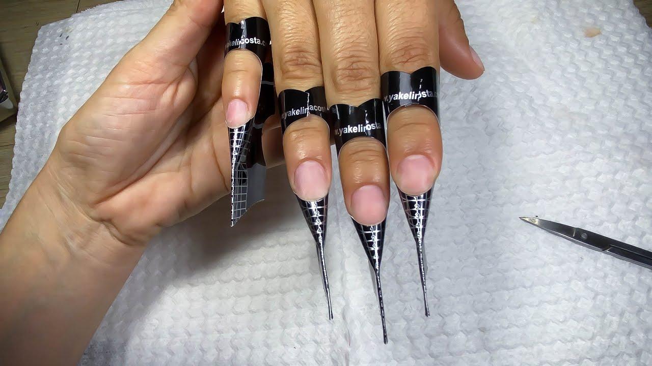 uñas almendradas (TRABAJO EN CLIENTE) hermoso set -  como hacer uñas acrílicas - como esculpir uñas
