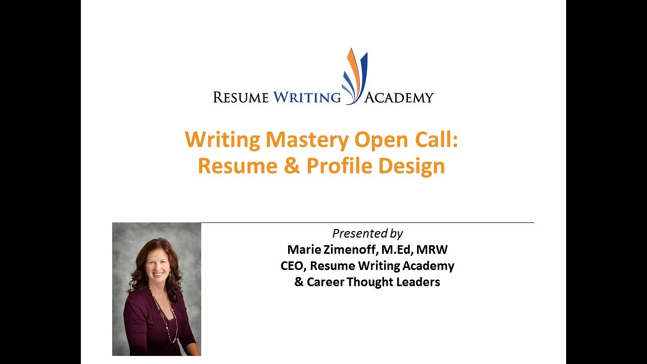 Writing Mastery Open Call: Designing Resumes and Profiles - YouTube