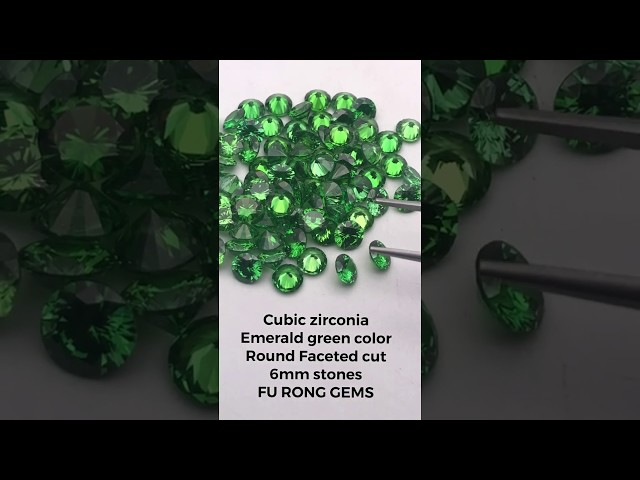 Loose cubic zirconia emerald green color round faceted diamond cut 6mm gemstones china suppliers