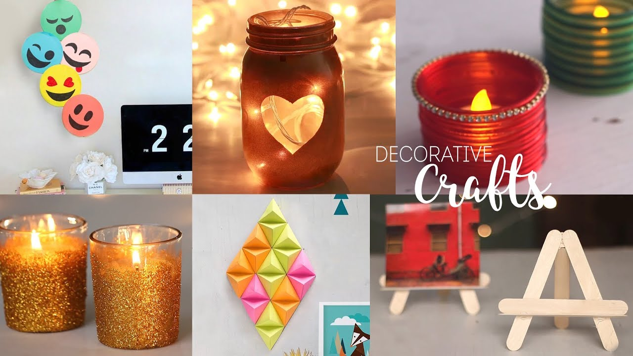 6 Home Decorative Craft Ideas Diy Room Decor Handcraft Youtube
