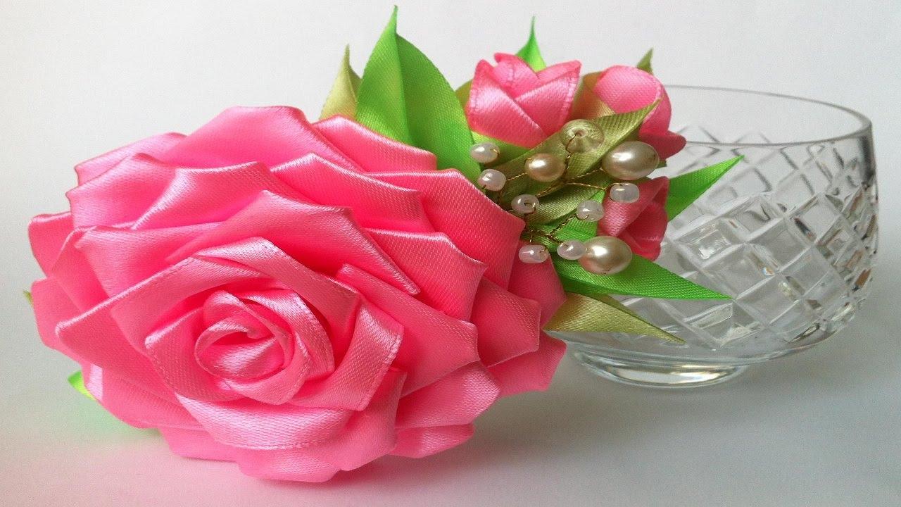Роза из ленты 2.5 см мастер класс
