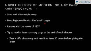 Unacademy History for IAS: Master Modern History in 45 days - Important study sources (Topic wise)