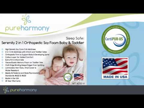 Pure Harmony Sleep Safe: Serenity 2 in 1 Orthopedic Soy Foam Baby & Toddler Crib Mattress