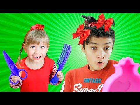 Alena and Pasha play beauty salon