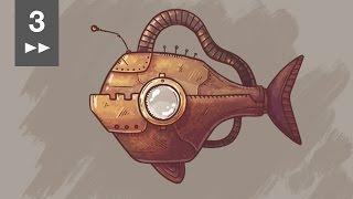 Steampunk mechano-fish (Fast drawing)