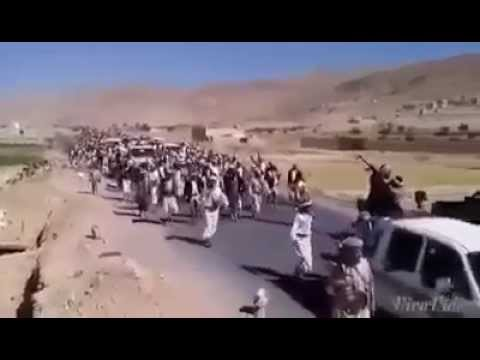 Ansarullah fighters marching to the frontlines in Yemen