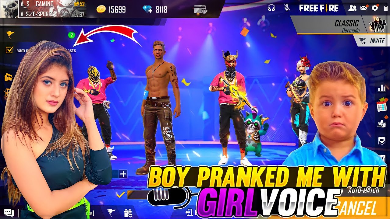 Boy Pranked Me With Girl Voice 😂😂 Free Fire Funny Prank A_s Gaming Dj Alok - Garena Free Fire