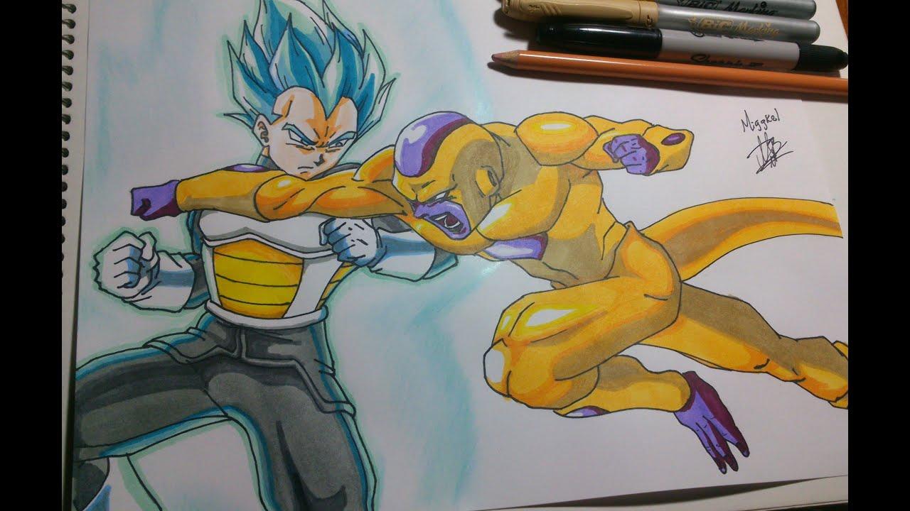 Dibujando a Golden freezer vs Vegeta Drawing Golden Freezer vs
