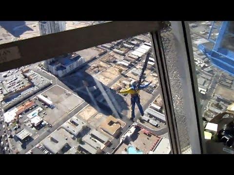 Watch Her Plunge 110 Floors From Stratosphere Sky Jump Ride! Las Vegas Baby!
