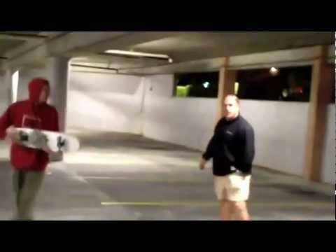 Guy pulls out a gun on Skateboarders