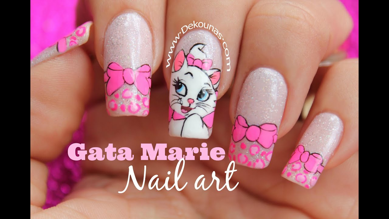 Decoraci n de u as gata marie marie cat nail art youtube for Decoracion de unas de rosas