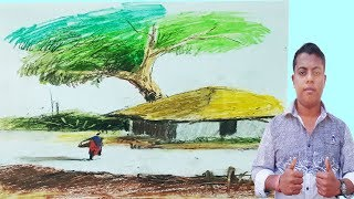 How to Draw Easy and Simple Landscape For Beginners with Oil Pastels  | Rong-Bahar Art |