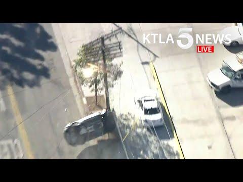 High-speed pursuit ends in violent crash overturning vehicle in Echo Park area