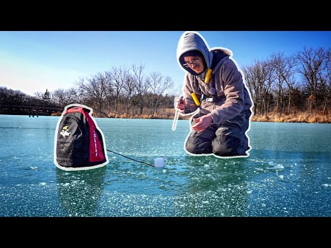 Ice Fishing A Creek For ANYTHING That Bites!!! (Surprise Catch)