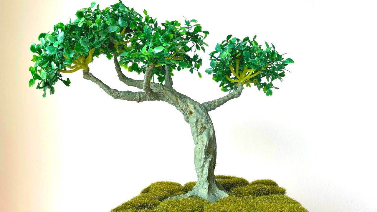 How To Make Artificial Bonsai Tree At Home Diy Realistic Bonsai Tree Youtube