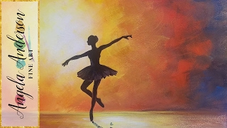 Ballerina Silhouette Impressionist Acrylic Painting on Canvas for Beginners FREE TUTORIAL