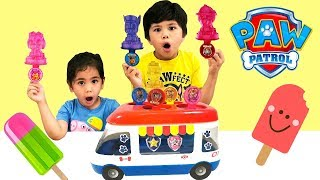 Kids makes ICE POPS with PAW PATROLLER TRUCK toys TBTFUNTV