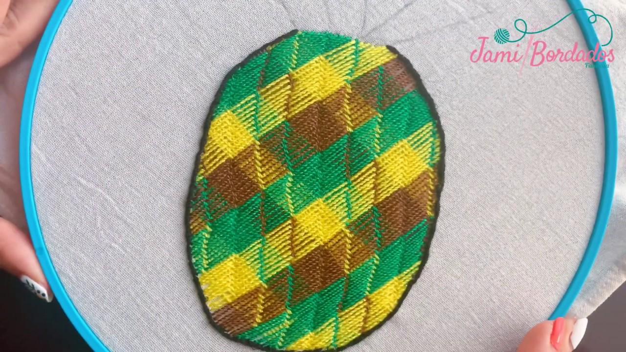 67. Bordado Fantasía Piña 2 / Hand Embroidery Pineapple with Fantasy Stitch