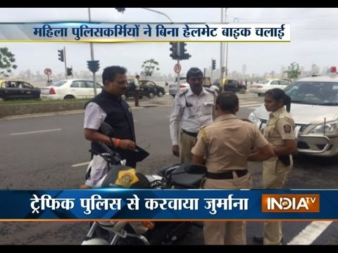 Mumbai Transport Minister Catches Women Constables Driving without Helmet - India TV