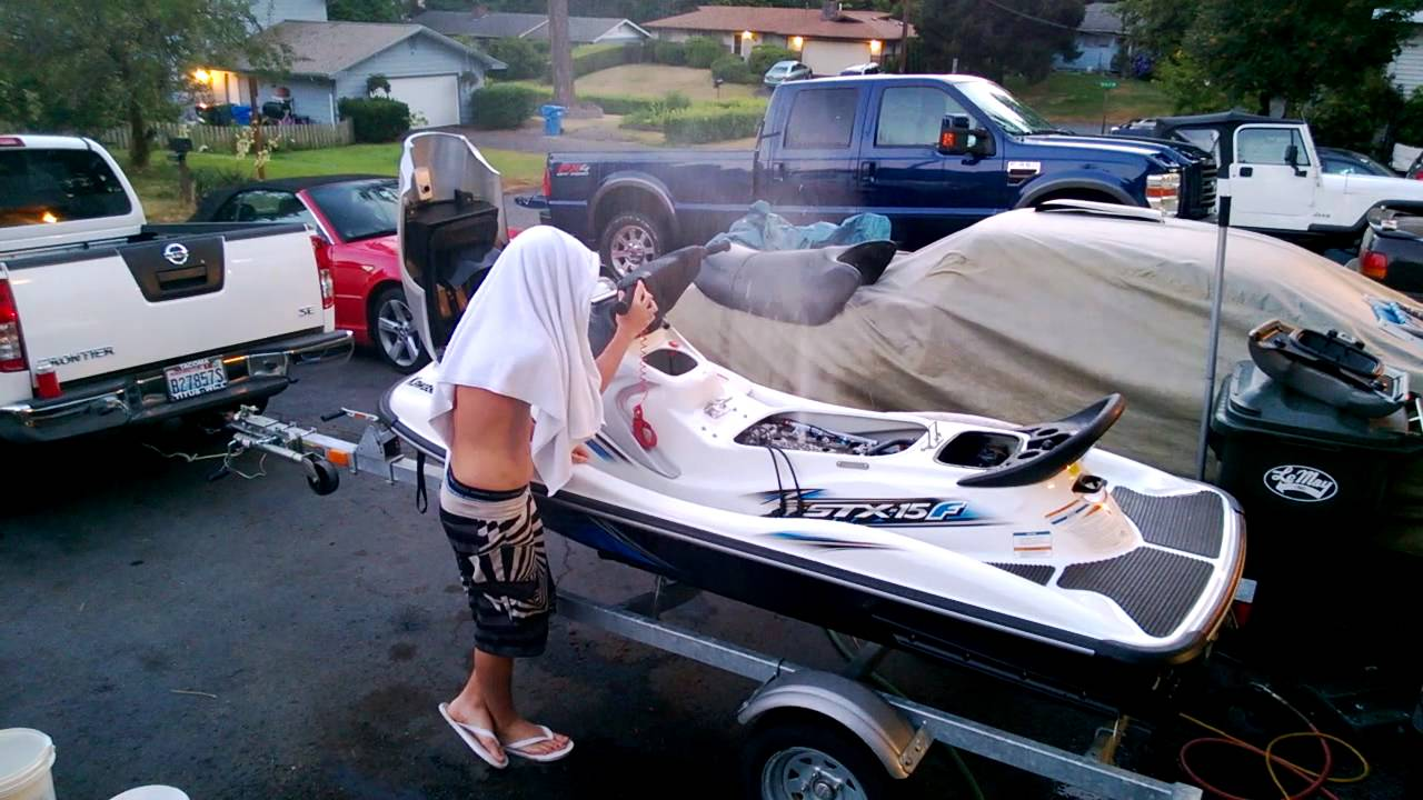 Jet ski filled with water