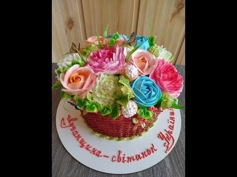 Белково-Заварное украшение торта. Розы, пионы, хризантемы пошагово. Юлия Клочкова.