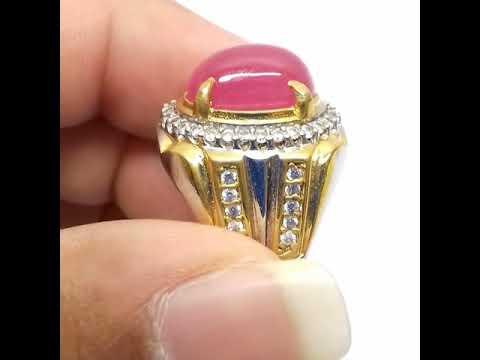 Cincin Batu Permata Natural Pink Ruby Madagascar BEST Crystal