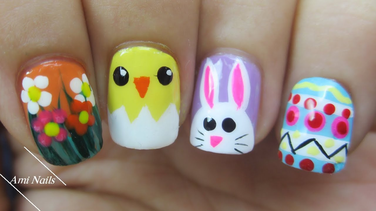 Easter Nail Art Designs 🐣🐰- Spring Flowers, Baby Chick, Bunny ...