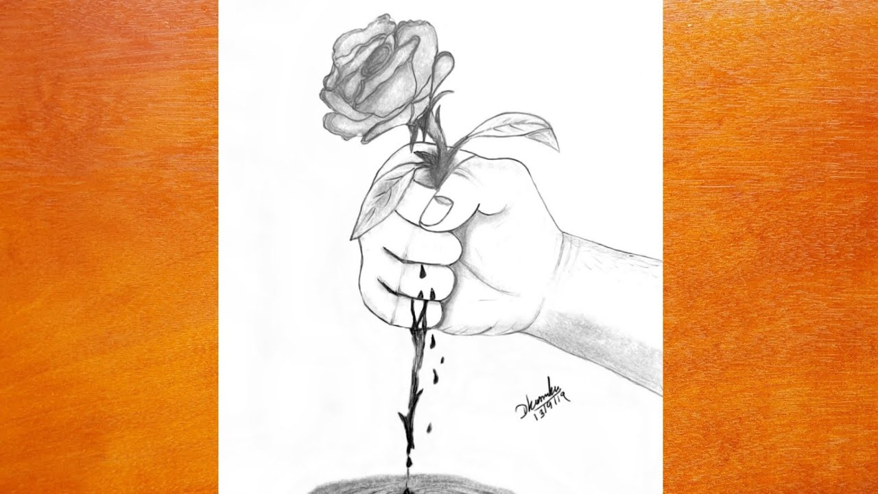 Hand Holding Rose Drawing Easy Drawing Youtube