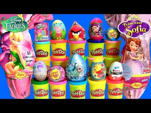 Giant Disney Fairies Princess Sofia Surprise Eggs Play Doh Huevos Sorpresa PeppaPig Frozen Shopkins
