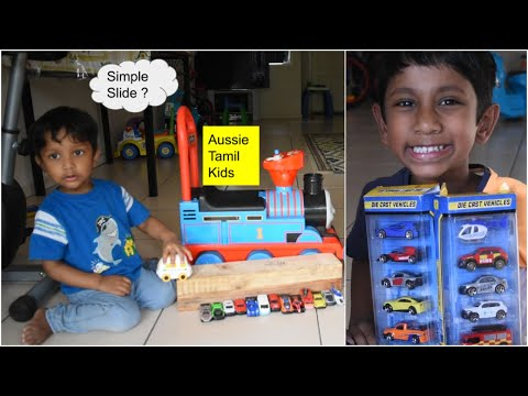 Unboxing Teamsterz And Simple Slide For Toy Cars - Kids DIY In Tamil!!