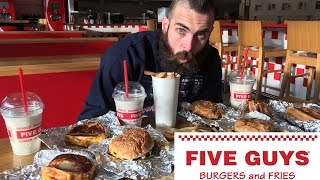 The Five Guys 10,000 Calorie Take Down | BeardMeatsFood