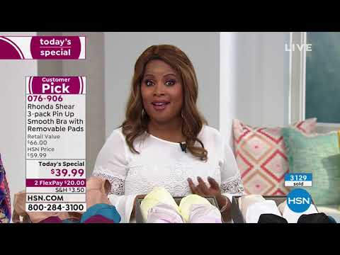 fa5924e0755a2 Rhonda Shear 3pack Pin Up Smooth Bra with Removable Pads - YouTube