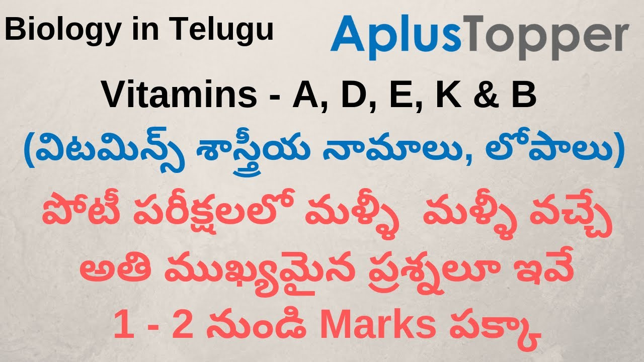 Vitamins In Telugu A D E K B And C Vitamin Uses Foods Deficiency Diseases Explanation Youtube